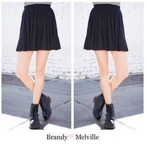 Brandy Melville Black Light Cotton Skater Skirt